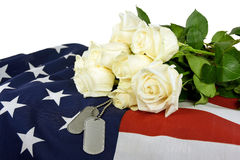 military-dog-tags-white-roses-pair-rose-bouquet-american-flag-73875539