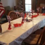 Table decorated with American flags