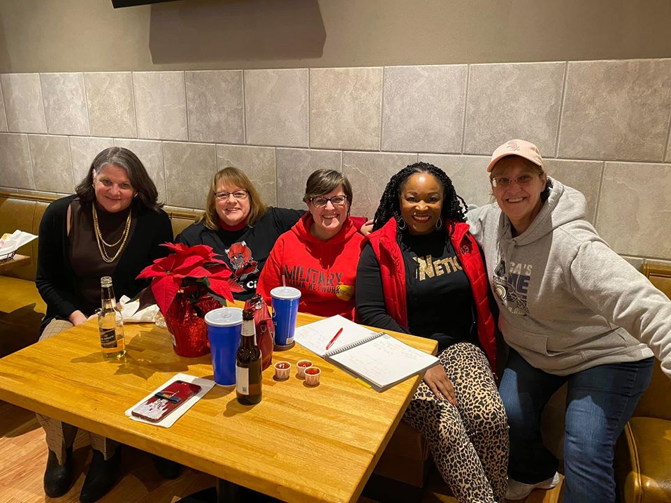 Joliet chapter ladies seated at restaurant table